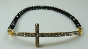 ARTISAN Black Crystal Stretch Bracelet with Rhinestone Gold Plated Cross