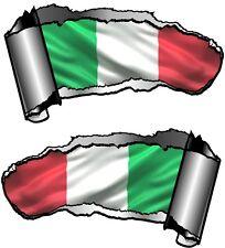 Small Pair Ripped Open Metal Rip GASH Italy Italian il Tricolor Flag Car Sticker