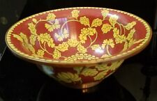 "6 3/8"" Antique Chinese Cloisonne Scalloped Bowl with Yellow Flowers & Copper rim"