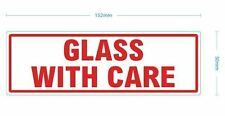 GLASS WITH CARE - WARNING LABELS - 152 X 50mm  50 Self Adhesive sticky Labels