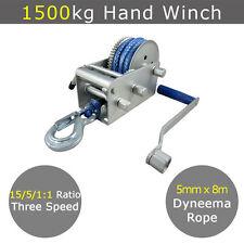 1500kg Hand Winch Dyneema Rope 3speed- Boat Car Marine Trailer Atlantic Jarrett