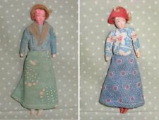 Ooak Antique Pair French Dolls / Hand Made Vintage-all original Costume Dress