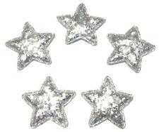 5 Deko Glitzer Sterne 3,5cm Patches silber Stern Aufnäher Weihnachten