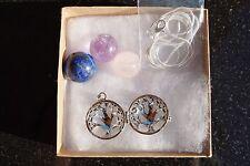 Tree of Life Amethyst/Lapis Lazuli/Rose Quartz Crystal Sphere Pendants + Chain