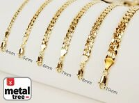 14kt Yellow Gold Plated Width 4 5 6 7 8 10 mm Concave Cuban Link Chain Necklace