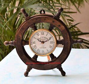 Wooden Ship Steering Wheel Clock 18 Inch Nautical Wall Decor