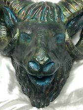 1 Bronzed Style Stone Animal Sheep Rams Head Mask Garden Water Feature Spout
