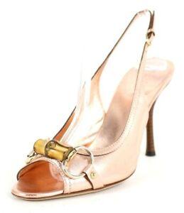 GUCCI Rose Gold Leather Bamboo Horsebit Vamp Heels Slingbacks 7.5