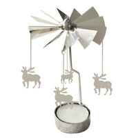 Spinning Rotary Metal Carousel Tea Light Candle Holder Stand Light Xmas Gif T7Y6