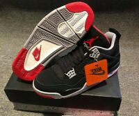 2019 NIKE AIR JORDAN 4 RETRO BRED OG 308497 060 BLACK RED GS & MEN Size: 10