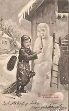 CHIMNEY SWEEP AND SNOWMAN POSTCARD