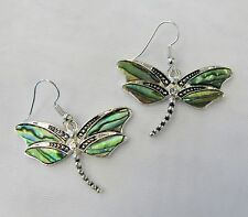 Silver Plated Dragonfly Dangle Pierced Earrings Abalone Shell Inlay  # 0425 New