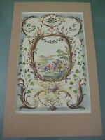 """Vintage Watteau Inv. T - Hand Colored On Etching Print, 14"""" X 8 1/2"""" (Rare)"""