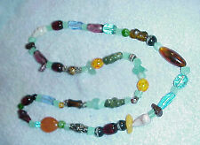 """SUPER NECKLACE OF BEGGAR BEADS..32+"""" OF SUPER STONES, UNUSUAL, STUNNING COLORS"""