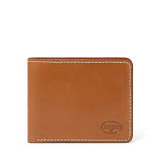 NEW FOSSIL LEATHER VAUGHN BIFOLD CREDIT CARD WALLET COGNAC BROWN