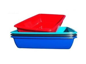 LARGE MEDIUM PLASTIC SILVER RED TEAL BLUE DOG CAT PET LITTER TRAY TOILET NEW