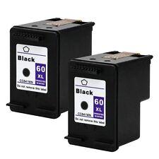2PKs HP 60XL 60XL Black Ink Cartridge CC641WN 60 XL ENVY 100 110 111 114