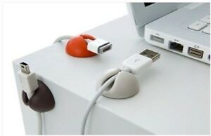 White cable drop clips stop cables USB charger cables tidy car satnav