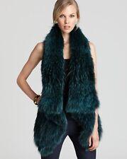 THEORY ATLANTA ERMY Raccoon Fur Vest Winter Cardigan Burgundy $1500 M 2DIE4 HOT