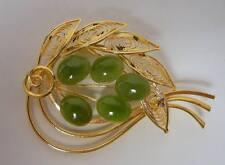Vintage Chinese Gold Filled Filigree Jade Nephrite Pin
