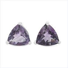 Ohrringe/Ohrstecker Trillion (Dreiecke)-Amethyst-925Silber-Rhodiniert-2 Karat