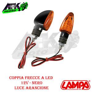 Coppia Frecce Nero di direzione a Led 12V Arancione Omologate E Per Moto Scooter