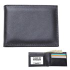 Mens Black Solid Genuine Leather BIFOLD WALLET Slim Credit Card ID Money Holder