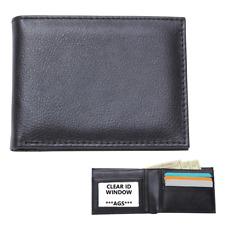 Mens Black Solid Genuine Leather BIFOLD WALLET Slim Credit Card ID Money Holder
