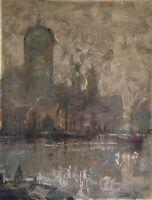 Blick auf Rotterdam Gerhard Cohn Roemers 1900-1965 Niederlande 32 x 25 Hafen