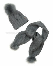 Mayoral Junior Girl's Cable Knit Hat and Scarf with Pompoms Gray, Sizes 8-16