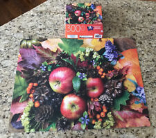 Milton Bradley Jigsaw Puzzle EZ Grasp Large 300 Pieces Fall Display Flower Apple