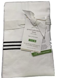 Pottery Barn Grand Embroidered Sham White With Black embroidery Euro Size NWT