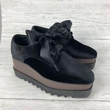 "Black Velvet Ribbon Lace Up 3"" Double Platform Goth Creepers Punk Wedge Shoes 39"