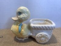 Vtg Ceramic Easter Planter Yellow Chick Duck duckling w:cart spring Nursery