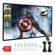 "120"" 4K 3D HD Projector Screen Portable Home Theater Movie Indoor Outdoor 16:9"
