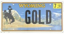 2018 Wyoming Vanity License Plate #GOLD No Reserve