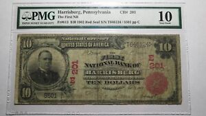 $10 1902 Harrisburg Pennsylvania Red Seal National Currency Bank Note Bill! #201