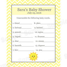 24 Personalized Word Scramble Baby Shower Game Cards - You Are My Sunshine Baby
