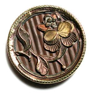 """Antique Brass Button Art Nouveau Flower with Painted Accents - 1"""""""