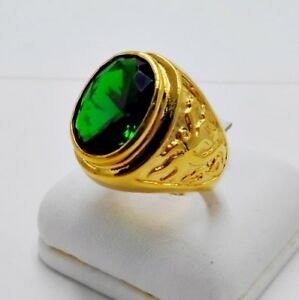 MEN RING GREEN EMERALD 24K YELLOW GOLD FILLED GP DRAGON CELTIC SOLITAIRE SIZE 9