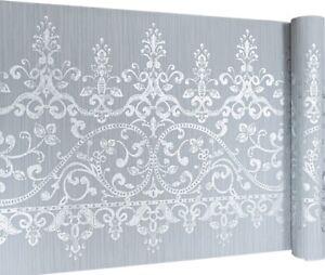 Arthouse Baroque Damask Grey Silver 10m x 53cm Large Dado Wallpaper Border Regal