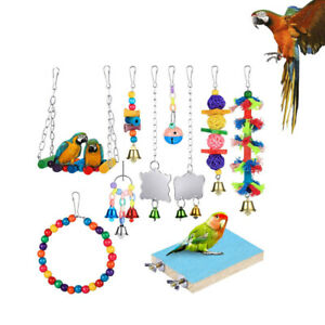 10X Parrot Hanging Swing Bird Cage Toys Parakeet Cockatiel Budgie Harness Toy AU
