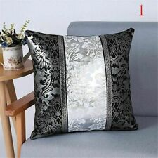 Vintage Black And Silver Decorative Cushion Cover Floral Pillow Case For Sofa
