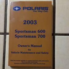 New ListingPolaris Atv Owners Manual Book 2003 Sportsman 600 700 Euc