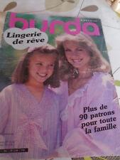 MAGAZINE BURDA COUTURE VINTAGE JOLIE LINGERIE POUR LA FAMILLE 90 patrons 1983