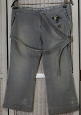 ALLSAINTS JEANS Prisonst Pant Striped Denim Jeans Pedal Pushers Capris UK8 Rare