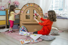 Papcraft Big Cardboard Playhouse carrugated box play house indoor dollhouse