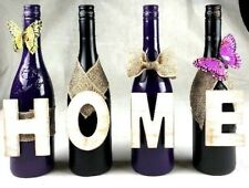 Home Decor Black/Purple  Wine Bottles Home Design Bottles Handcrafted CUTE