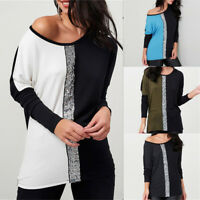 Womens Long Sleeve Sequins Crew Neck Tops Blouse Ladies Casual T Shirt Plus Size
