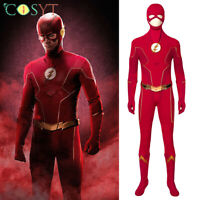 The Flash SE6 Barry Allen Cosplay Jumpsuit Red Flash Costumes Mask Full Set Lot